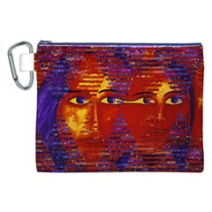 Conundrum Iii, Abstract Purple & Orange Goddess Canvas Cosmetic Bag (xxl)  by DianeClancy