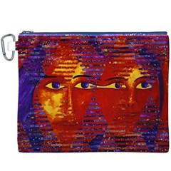 Conundrum Iii, Abstract Purple & Orange Goddess Canvas Cosmetic Bag (xxxl)  by DianeClancy