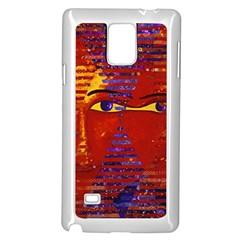 Conundrum Iii, Abstract Purple & Orange Goddess Samsung Galaxy Note 4 Case (white) by DianeClancy