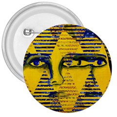 Conundrum Ii, Abstract Golden & Sapphire Goddess 3  Buttons by DianeClancy