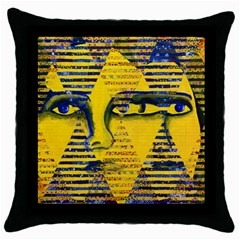 Conundrum Ii, Abstract Golden & Sapphire Goddess Throw Pillow Case (black) by DianeClancy