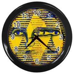 Conundrum Ii, Abstract Golden & Sapphire Goddess Wall Clocks (black) by DianeClancy