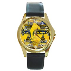 Conundrum Ii, Abstract Golden & Sapphire Goddess Round Gold Metal Watch by DianeClancy