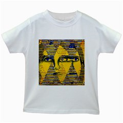 Conundrum Ii, Abstract Golden & Sapphire Goddess Kids White T Shirts by DianeClancy