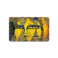 Conundrum Ii, Abstract Golden & Sapphire Goddess Magnet (name Card) by DianeClancy