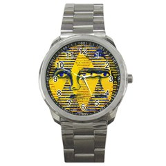 Conundrum Ii, Abstract Golden & Sapphire Goddess Sport Metal Watch by DianeClancy