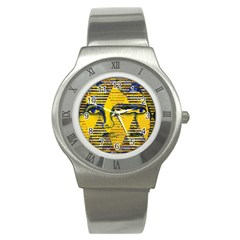 Conundrum Ii, Abstract Golden & Sapphire Goddess Stainless Steel Watch by DianeClancy