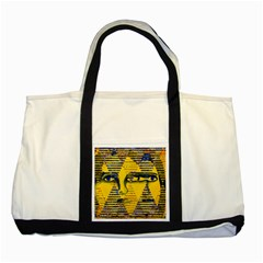 Conundrum Ii, Abstract Golden & Sapphire Goddess Two Tone Tote Bag by DianeClancy
