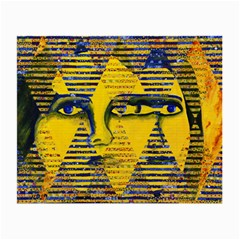 Conundrum Ii, Abstract Golden & Sapphire Goddess Small Glasses Cloth (2 Side) by DianeClancy