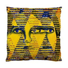 Conundrum Ii, Abstract Golden & Sapphire Goddess Standard Cushion Case (two Sides) by DianeClancy