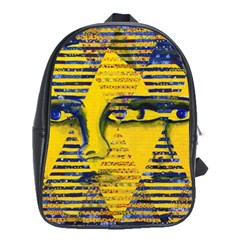 Conundrum Ii, Abstract Golden & Sapphire Goddess School Bags(large)  by DianeClancy