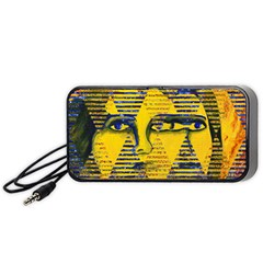 Conundrum Ii, Abstract Golden & Sapphire Goddess Portable Speaker (black)  by DianeClancy