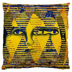 Conundrum Ii, Abstract Golden & Sapphire Goddess Large Cushion Case (one Side) by DianeClancy