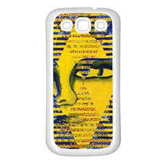 Conundrum Ii, Abstract Golden & Sapphire Goddess Samsung Galaxy S3 Back Case (white) by DianeClancy