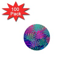Colored Palm Leaves Background 1  Mini Buttons (100 Pack)  by TastefulDesigns