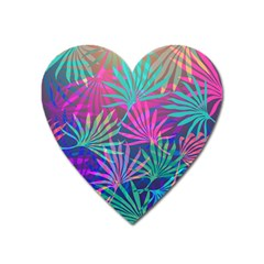 Colored Palm Leaves Background Heart Magnet by TastefulDesigns
