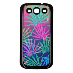 Colored Palm Leaves Background Samsung Galaxy S3 Back Case (black) by TastefulDesigns