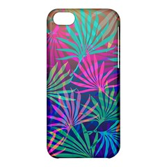 Colored Palm Leaves Background Apple Iphone 5c Hardshell Case by TastefulDesigns