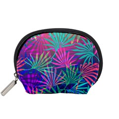 Colored Palm Leaves Background Accessory Pouches (small)  by TastefulDesigns