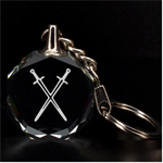 Engraved Crossed Swords Key Chain - 3D Engraving Circle Key Chain