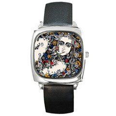 Flower Woman Square Leather Watch by DryInk