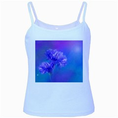 Purple Cornflower Floral  Baby Blue Spaghetti Tank by yoursparklingshop