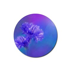 Purple Cornflower Floral  Rubber Coaster (round)  by yoursparklingshop