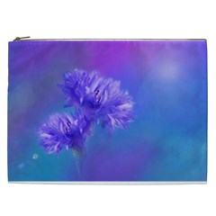 Purple Cornflower Floral  Cosmetic Bag (xxl)  by yoursparklingshop