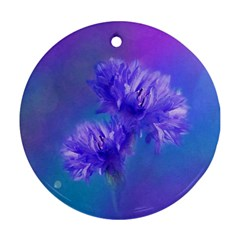 Flowers Cornflower Floral Chic Stylish Purple  Round Ornament (two Sides)  by yoursparklingshop