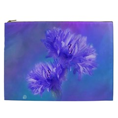 Flowers Cornflower Floral Chic Stylish Purple  Cosmetic Bag (xxl)  by yoursparklingshop