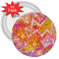 Sunshine Bubbles 3  Buttons (10 Pack)  by KirstenStar