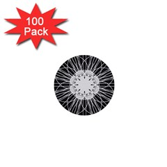 Black And White Flower Mandala Art Kaleidoscope 1  Mini Buttons (100 Pack)  by yoursparklingshop