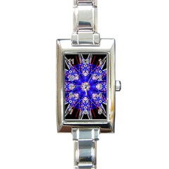 Kaleidoscope Flower Mandala Art Black White Red Blue Rectangle Italian Charm Watch by yoursparklingshop