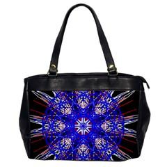 Kaleidoscope Flower Mandala Art Black White Red Blue Office Handbags by yoursparklingshop