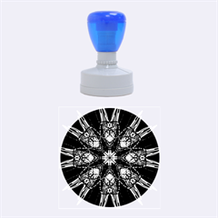 Kaleidoscope Flower Mandala Art Black White Red Blue Rubber Round Stamps (medium) by yoursparklingshop