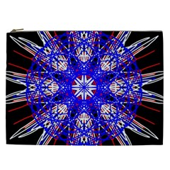 Kaleidoscope Flower Mandala Art Black White Red Blue Cosmetic Bag (xxl)  by yoursparklingshop