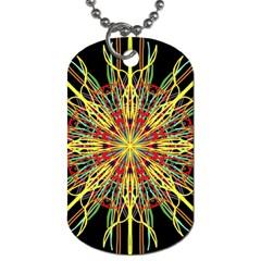 Kaleidoscope Flower Mandala Art Black Yellow Orange Red Dog Tag (one Side) by yoursparklingshop