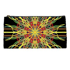 Kaleidoscope Flower Mandala Art Black Yellow Orange Red Pencil Cases by yoursparklingshop