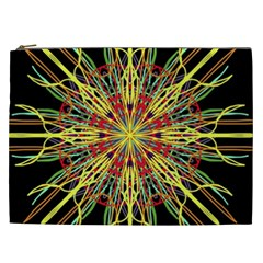 Kaleidoscope Flower Mandala Art Black Yellow Orange Red Cosmetic Bag (xxl)  by yoursparklingshop