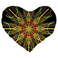 Kaleidoscope Flower Mandala Art Black Yellow Orange Red Large 19  Premium Heart Shape Cushions by yoursparklingshop