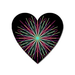 Pink Turquoise Black Star Kaleidoscope Flower Mandala Art Heart Magnet by yoursparklingshop