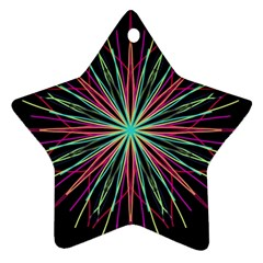 Pink Turquoise Black Star Kaleidoscope Flower Mandala Art Star Ornament (two Sides)  by yoursparklingshop
