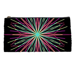 Pink Turquoise Black Star Kaleidoscope Flower Mandala Art Pencil Cases by yoursparklingshop