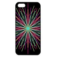 Pink Turquoise Black Star Kaleidoscope Flower Mandala Art Apple Iphone 5 Seamless Case (black) by yoursparklingshop
