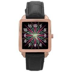 Pink Turquoise Black Star Kaleidoscope Flower Mandala Art Rose Gold Leather Watch