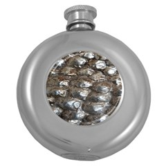 Festive Silver Metallic Abstract Art Round Hip Flask (5 Oz) by yoursparklingshop