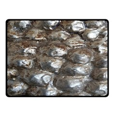 Festive Silver Metallic Abstract Art Double Sided Fleece Blanket (small)  by yoursparklingshop