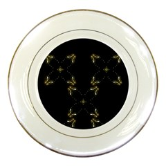 Festive Black Golden Lights  Porcelain Plates by yoursparklingshop