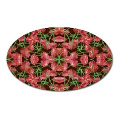 Floral Collage Pattern Oval Magnet by dflcprints