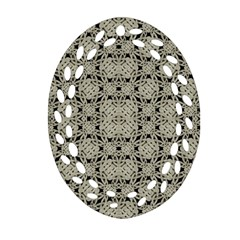 Interlace Arabesque Pattern Oval Filigree Ornament (2 Side)  by dflcprints